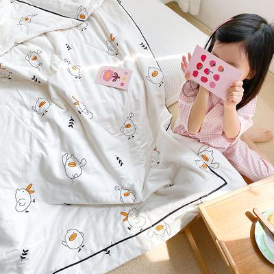 2020新款儿童全棉双层纱布棉花驱蚊夏被 110x150cm 小鸭子