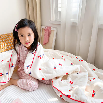2020新款儿童全棉双层纱布棉花驱蚊夏被 110x150cm 小樱桃