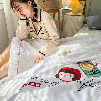 2020新款韓系天絲莫代爾繡花夏被 200X230cm單夏被 小紅帽-白