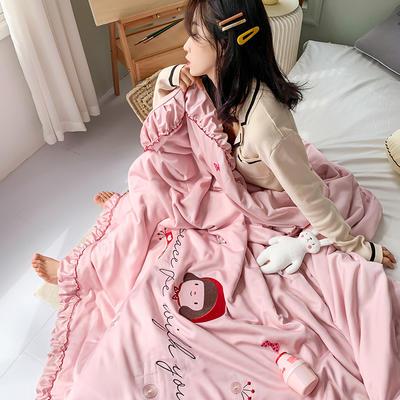 2020新款韓系天絲莫代爾繡花夏被 200X230cm單夏被 小紅帽-粉