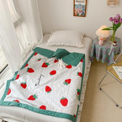 2020新款全棉驅蚊兒童棉花夏被 110*150cm單夏被 草莓園