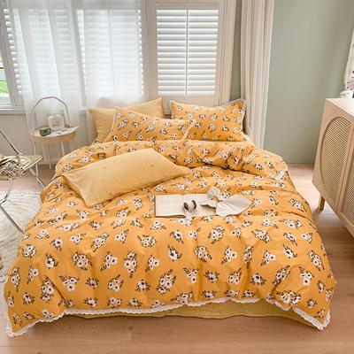 2020新款40支韩系花边系列全棉四件套 1.5m床单款四件套 花蜜·黄