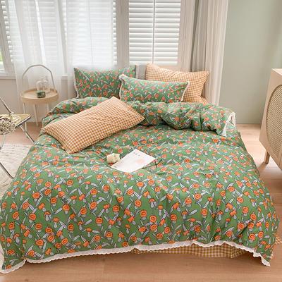 2020新款40支韩系花边系列全棉四件套 1.5m床单款四件套 米兰·绿
