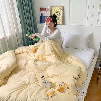 2020新款马卡龙系列针织棉抗菌大豆被冬被被子被芯 150x200cm5.3斤 马卡黄