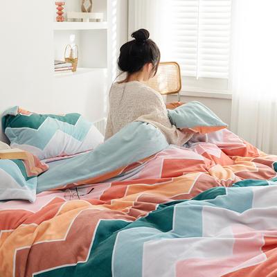 2020新款韩系高端220g牛奶绒四件套--棚拍 1.5m床单款四件套 波浪