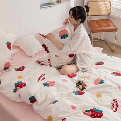2020新款韩系高端220g牛奶绒四件套--棚拍 1.5m床单款四件套 草莓派