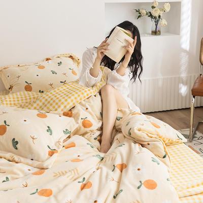 2020新款韩系高端220g牛奶绒四件套--棚拍 1.5m床单款四件套 橙子多多