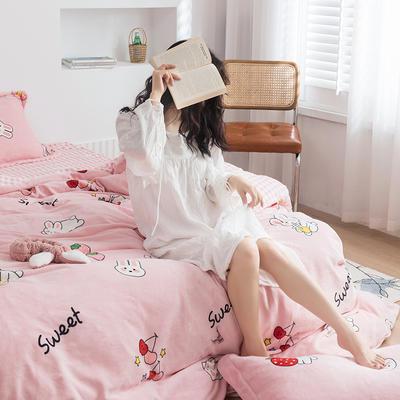 2020新款韩系高端220g牛奶绒四件套--棚拍 1.5m床单款四件套 可爱兔