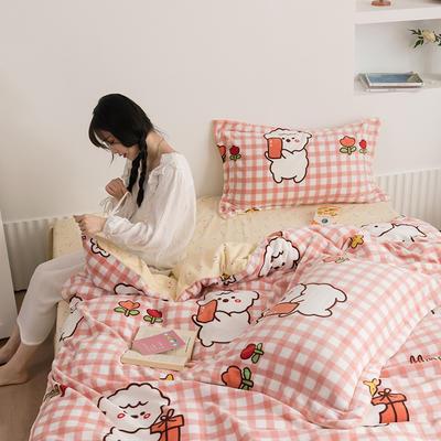 2020新款韩系高端220g牛奶绒四件套--棚拍 1.5m床单款四件套 棉花糖