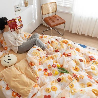 2020新款韩系高端220g牛奶绒四件套--棚拍 1.5m床单款四件套 浓情花语