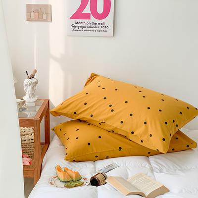 2020秋冬新款全棉小清新单品枕套 48cmX74cm/对 波点黄