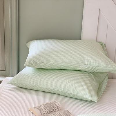 2020秋冬新款全棉小清新单品枕套 48cmX74cm/对 格子绿