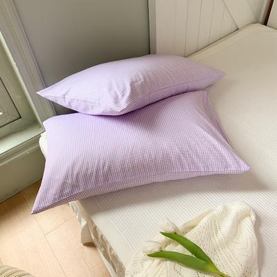 2020新款韩国定制代购秋冬短绒格子纹双面两用冬被---枕套 48cmX74cm/对 格子紫