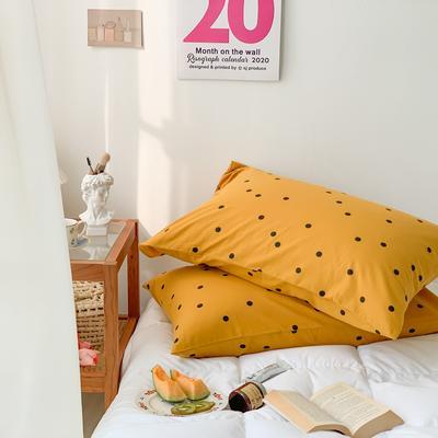 2020新款波点水洗棉新疆棉花枕套 48cmX74cm/对 波点黄