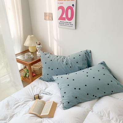 2020新款波点水洗棉新疆棉花枕套 48cmX74cm/对 波点蓝