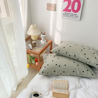 2020新款波点水洗棉新疆棉花枕套 48cmX74cm/对 波点绿