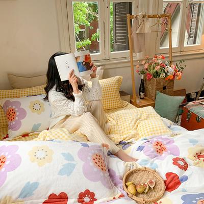 2020新款韩系高端220g牛奶绒四件套--实拍 1.5m床单款三件套 爱洛花园