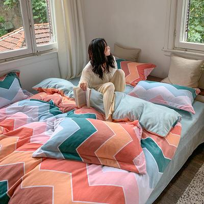 2020新款韩系高端220g牛奶绒四件套--实拍 1.5m床单款三件套 波浪