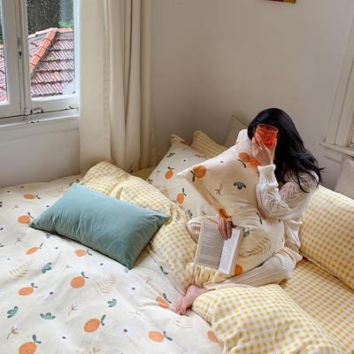 2020新款韩系高端220g牛奶绒四件套--实拍 1.5m床单款三件套 橙子多多