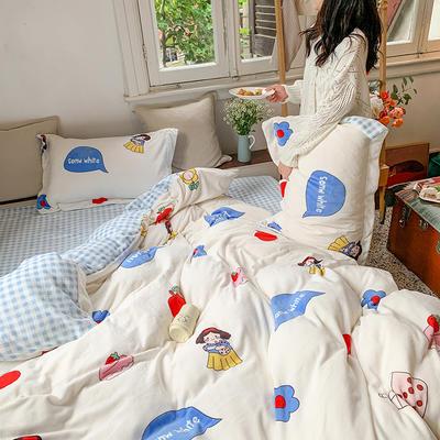 2020新款韩系高端220g牛奶绒四件套--实拍 1.5m床单款三件套 公主白