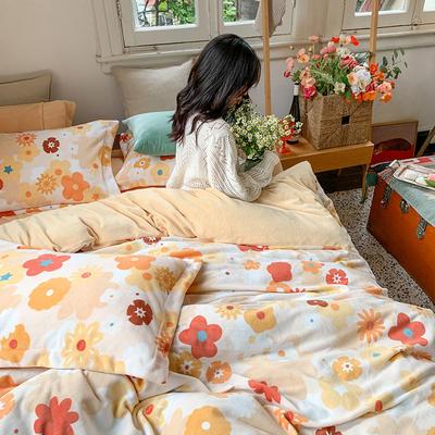 2020新款韩系高端220g牛奶绒四件套--实拍 1.5m床单款三件套 浓情花语