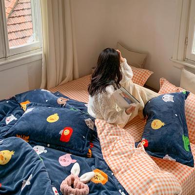 2020新款韩系高端220g牛奶绒四件套--实拍 1.5m床单款三件套 森林王国