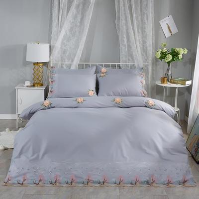 2019新款全棉刺绣花边四件套床单款 1.8m床 浪漫西湖-灰