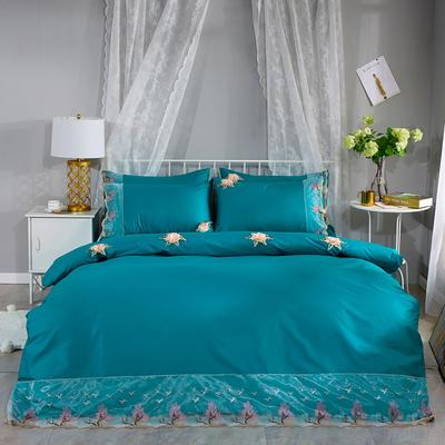 2019新款全棉刺绣花边四件套床单款 1.8m床 浪漫西湖-墨绿