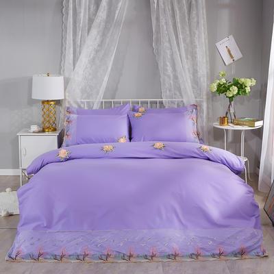 2019新款全棉刺绣花边四件套床单款 1.5m床 浪漫西湖-浅紫