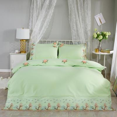 2019新款全棉刺绣花边四件套床单款 1.8m床 浪漫西湖-水绿