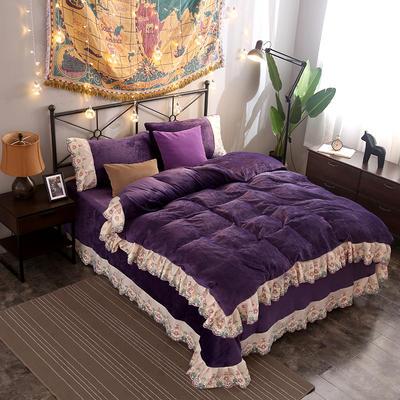 2019新款法莱绒蕾丝花边四件套 1.8m床单款 王者绒耀-深紫
