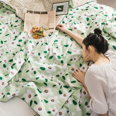 2020新款全棉印花夏被 150x200cm 栀子花绿