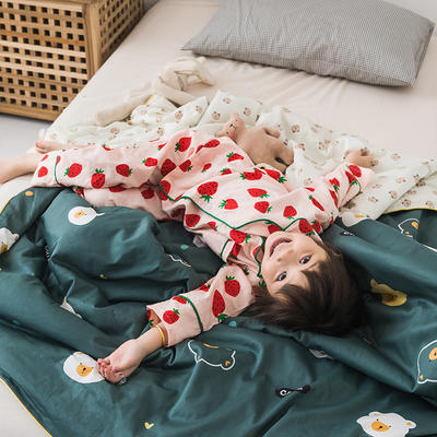 2020新款60長絨棉兒童大豆被 夏被120x150cm  1.7斤 綠色熊仔