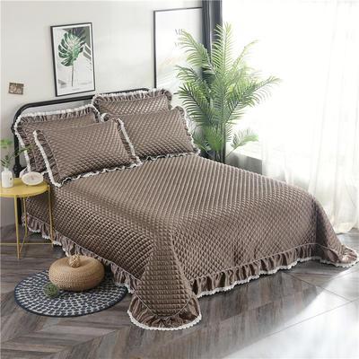 金龙家纺 2019阳离子纯色床盖三件套 2.0m(6.6英尺)床 卡其