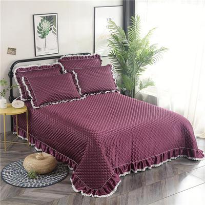 金龙家纺 2019阳离子纯色床盖三件套 2.0m(6.6英尺)床 紫红