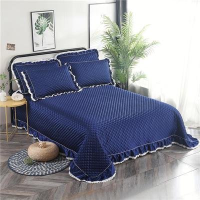 金龙家纺 2019阳离子纯色床盖三件套 2.0m(6.6英尺)床 深蓝