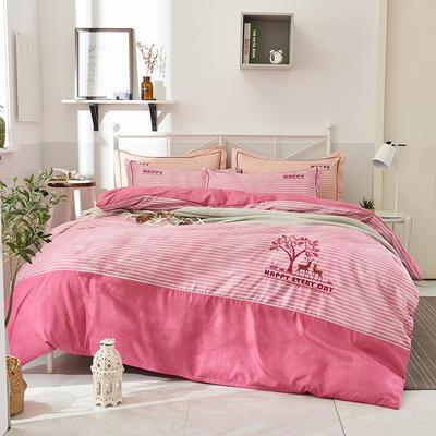2019新款色纺生态磨毛绣花四件套 标准 1.5/1.8米床 被套2*2.3 幸福伴侣--粉色