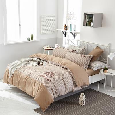 2019新款色纺生态磨毛绣花四件套 标准 1.5/1.8米床 被套2*2.3 幸福伴侣-卡其色
