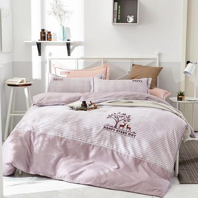 2019新款色纺生态磨毛绣花四件套 标准 1.5/1.8米床 被套2*2.3 幸福伴侣-浅紫