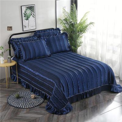 金龙家纺 2019丝光贡缎纯色床盖三件套 2.0m(6.6英尺)床 深蓝