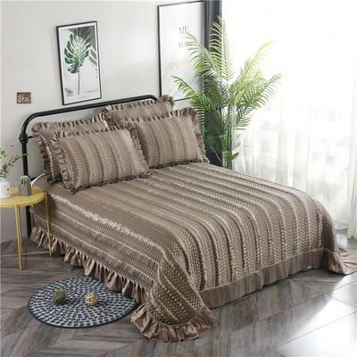 金龙家纺 2019丝光贡缎纯色床盖三件套 2.0m(6.6英尺)床 深紫