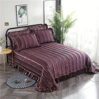 金龙家纺 2019丝光贡缎纯色床盖三件套 2.0m(6.6英尺)床 紫红