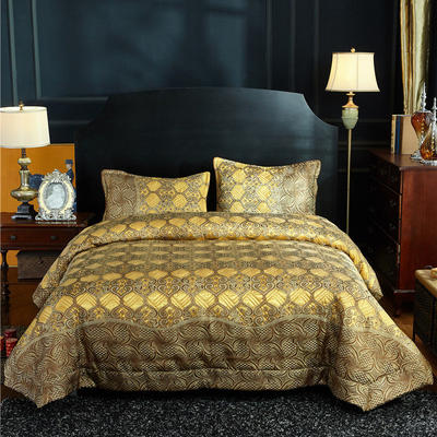 (总)金龙家纺 地中海风格棉麻床盖三件套工艺款 床盖245cmx250cm 枕48*74 黄金时代