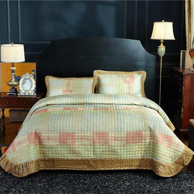 (总)金龙家纺 地中海风格棉麻床盖三件套工艺款 床盖245cmx250cm 枕48*74 米兰风情