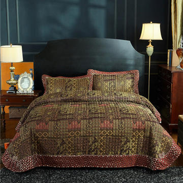 (总)金龙家纺 地中海风格棉麻床盖三件套工艺款