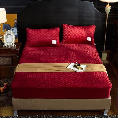 (总)金龙家纺 水晶绒纯色夹棉床笠枕套可单拍 120cmx200cm(定做规格) 酒红