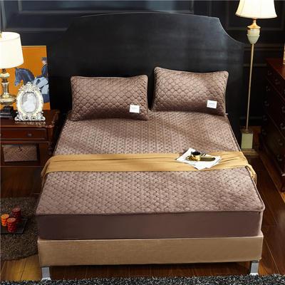 (总)金龙家纺 水晶绒纯色夹棉床笠枕套可单拍 120cmx200cm(定做规格) 咖啡