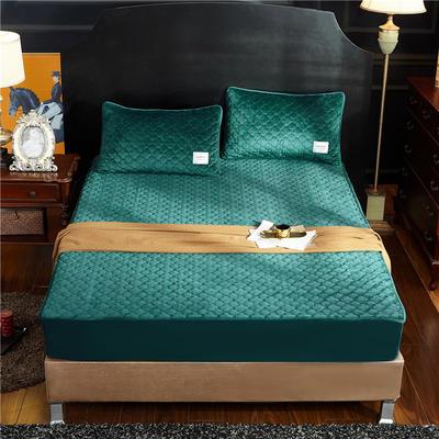 (总)金龙家纺 水晶绒纯色夹棉床笠枕套可单拍 120cmx200cm(定做规格) 墨绿