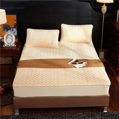(总)金龙家纺 水晶绒纯色夹棉床笠枕套可单拍 120cmx200cm(定做规格) 浅驼