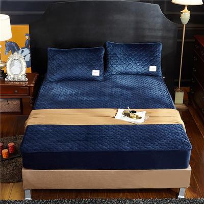 (总)金龙家纺 水晶绒纯色夹棉床笠枕套可单拍 120cmx200cm(定做规格) 深蓝